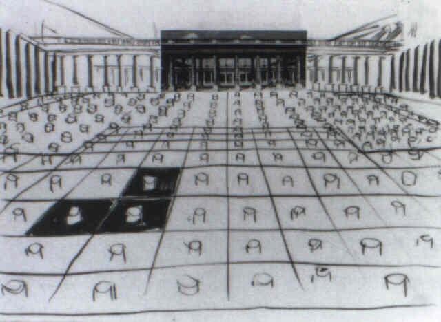 etude pour les colonnes des deux plateaux du palais royal by daniel buren