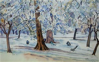 plane trees, green park, london by rita angus