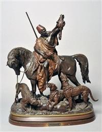 cavalier arabe tenant une peau de panthère devant ses chiens by arthur waagen