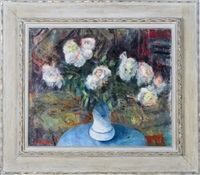white peonies in a vase by georges andre klein