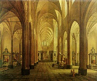 the interior of the st. baafs-cathedral, ghent by angelus de baets