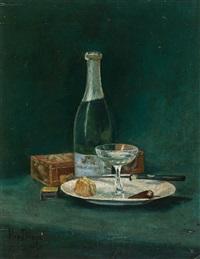 nature morte avec bouteille de champagne - nature morte avec huitres et bouteille de vin (2 works) by hippolyte daeye