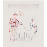 figures with still life, pl.10 from the blue guitar by david hockney