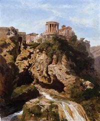 tivoli, veduta delle cascate con il tempio di vesta by karl august lindemann-frommel