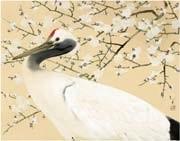 crane with plum by ryushi kawabata