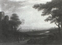 landscape with distant view of rome by edmund garvey