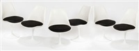 suite de six chaises pivotantes tulipes (set of 6) by eero saarinen
