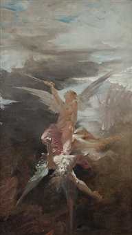 the fall of lucifer by edouard-marie-guillaume dubufe