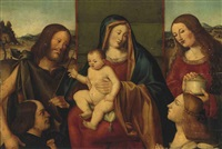 the holy family with saints john the baptist and mary magdalene, with two donors by giovanni bellini