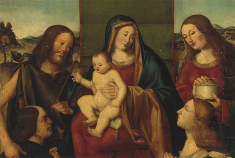the holy family with saints john the baptist and mary magdalene with two donors by giovanni bellini