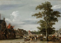soldiers plundering a village with horse-drawn wagons near a draw-well in the forground and houses burning on the left by pieter jansz post