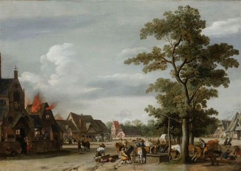 soldiers plundering a village with horse drawn wagons near a draw well in the forground and houses burning on the left by pieter jansz post