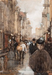 bustle in the spuistraat, the hague by floris arntzenius