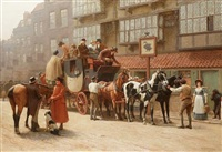 the london york stage outside the black swan by john charles dollman