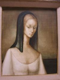 portrait de femme au foulard noir by luis alvarez