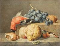 nature morte avec oiseaux morts, coigns, coquille, noix et raisins by anthony oberman