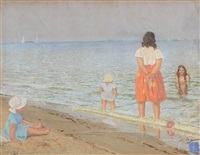 hilary and the kids at the beach by patrick leonard