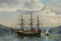 the danish frigate jylland anchored in a bay by carl ludwig bille