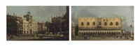 the piazza san marco: the northeast corner, and the piazzetta: looking east, with the ducal palace (pair) by canaletto