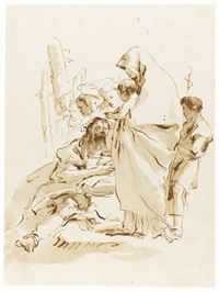 the holy family with st. john the baptist and angels by giovanni battista tiepolo