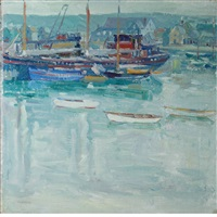 harbor scene by charles salis kaelin