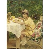 colazione all'aria aperta. il nipote giacomino in giardino by giacomo grosso
