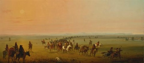 caravan en route sir william drummond stewarts caravan by alfred jacob miller