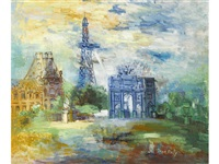 le jardin des tuileries et l'arc de triomphe du carrousel by jean dufy