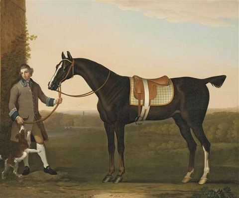a hunter held by a groom with a dog in a wooded landscape by james seymour