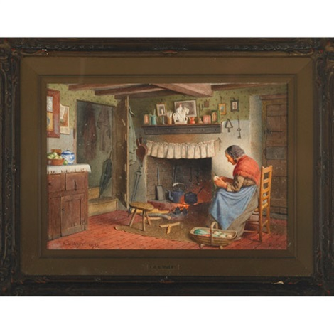 woman peeling vegetables by the hearth by henry edward spernon tozer