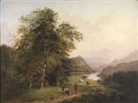 figures in a highland landscape by jane nasmyth