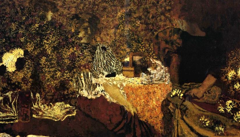 la table de toilette dans les fleurs by edouard vuillard