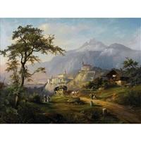 idyllische landschaft mit blick auf chur by franz adolf christian müller