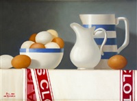 blue and white jug with eggs by paul kavanagh