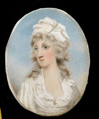a lady, wearing white dress, her curled and powdered hair worn long and dressed with a white turban and strands of pearls by thomas hull