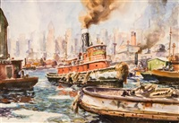 winter waterfront, new york by john whorf