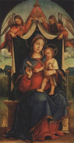 vierge à lenfant avec deux anges by bernardino di bosio zaganelli