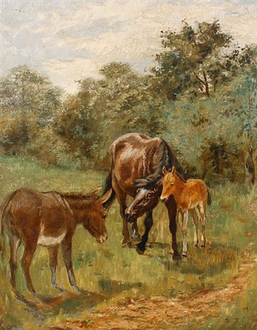 a horse foal and donkey in a field horse and foal study irgr 2 works by lucy hargreaves