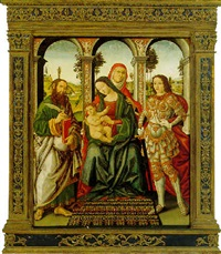 a sacra conversazione; the madonna and child with saint anne, flanked by saints bartholomew and michael by ranieri di leonardo da pisa
