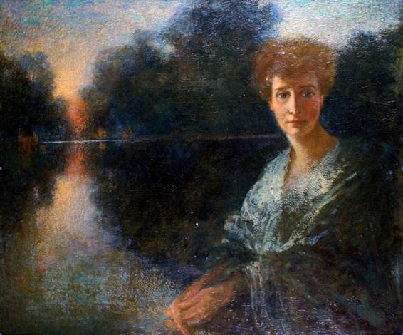 jeune femme dans le parc by lucien lévy dhurmer