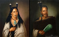chief (+ chieftainess of ngatai - rauare; pair) by gottfried lindauer