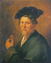 portrait of an old man in a grey coat and beret, holding a portrait medallion by jacques des rousseaux