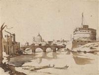 vue du tibre avec castel sant'angelo et la basilique saint-pierre à rome by claude lorrain