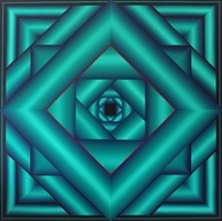large lush life geometric abstract painting by george snyder