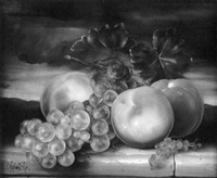 still life with peaches, grapes and currants by dominique obeniche