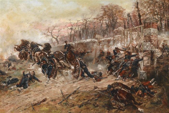 die verteidigung des longboyau tores schloss buzenval bei paris am 21 oktober 1870 by alphonse marie de neuville