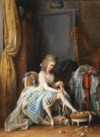 jeune femme à sa toilette by niklas lafrensen the younger