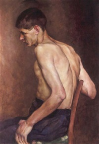 seated young man by polychronis lembessis