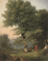 travellers resting by a lake in an arcadian landscape by david