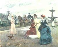 elegant ladies in a park by jose soler